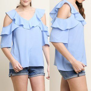 Periwinkle Open Shoulder Ruffle V-Neck Top {Umgee}